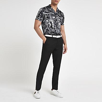 Black baroque regular fit shirt
