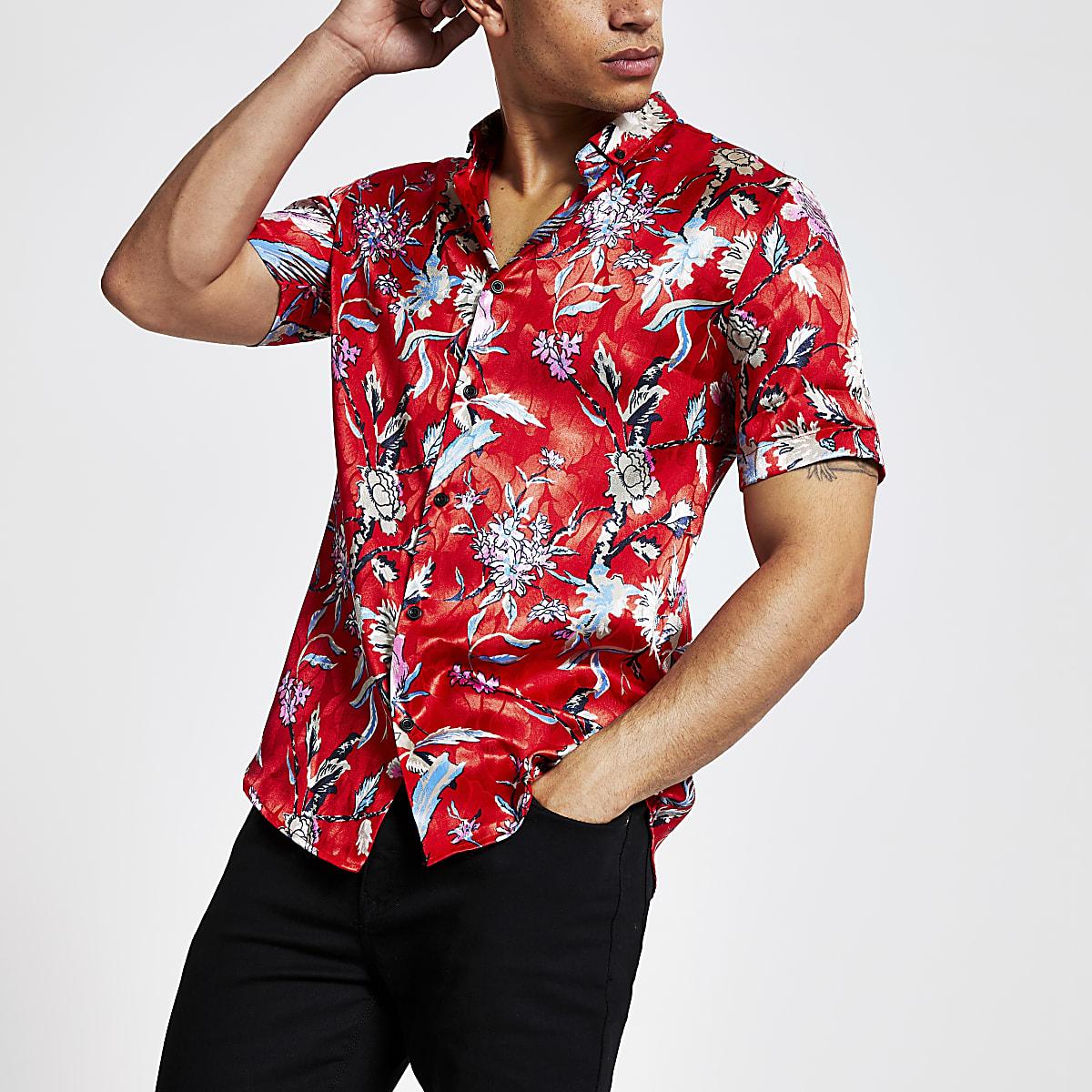 Red floral slim fit shirt