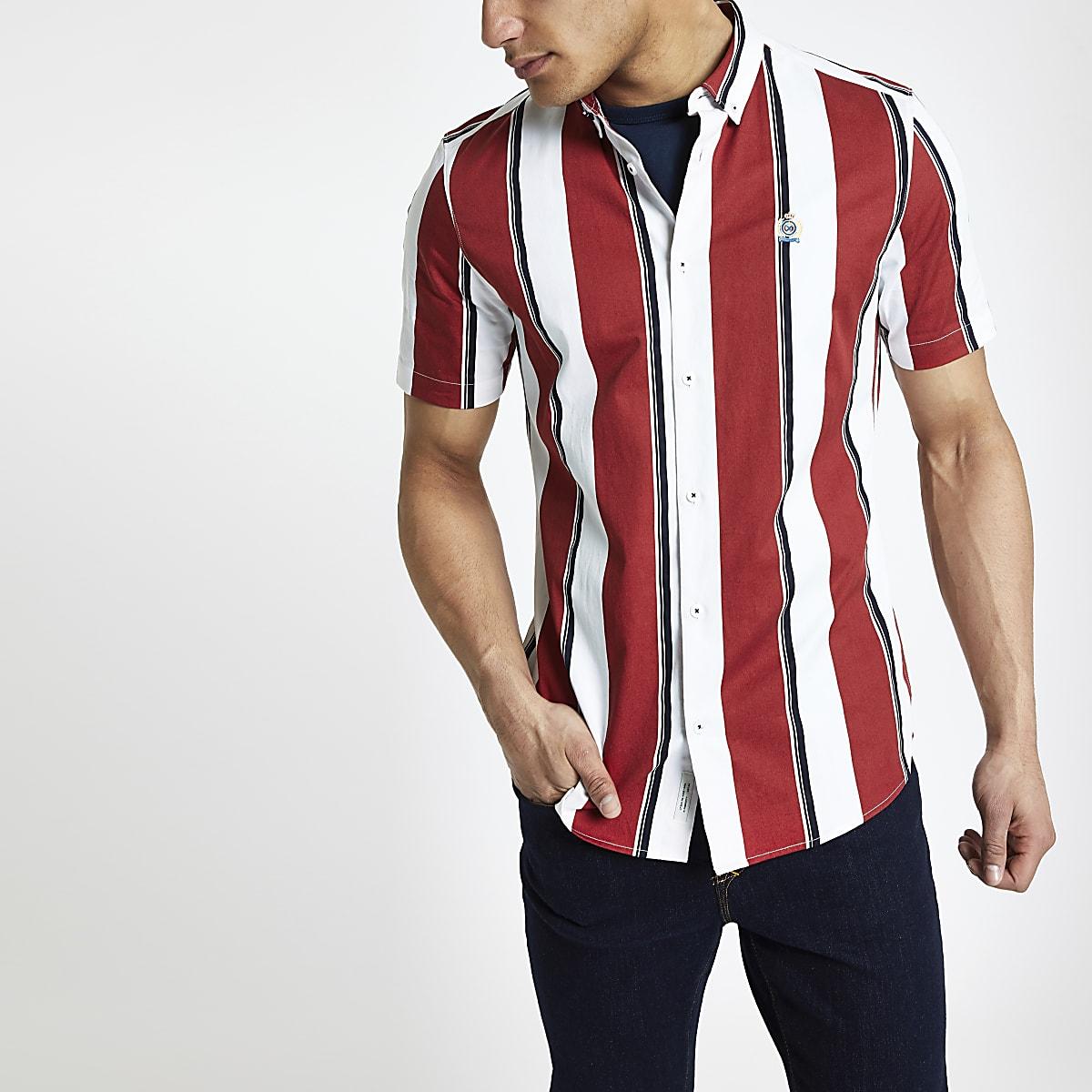 Rood Overhemd Slim Fit.Rood Gestreept Slim Fit Overhemd Overhemden Met Korte Mouwen