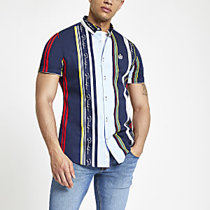 Navy stripe 'Prolific' slim fit shirt