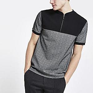 Polo slim à carreaux gris avec col zippé