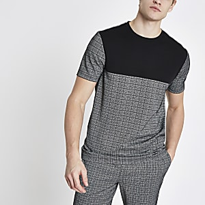 Grey slim fit check T-shirt