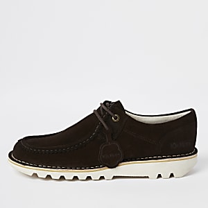 Kickers - Donkerbruine halflage suède schoenen