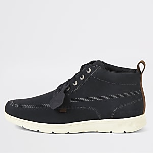 Kickers Kelland black leather lace-up boots
