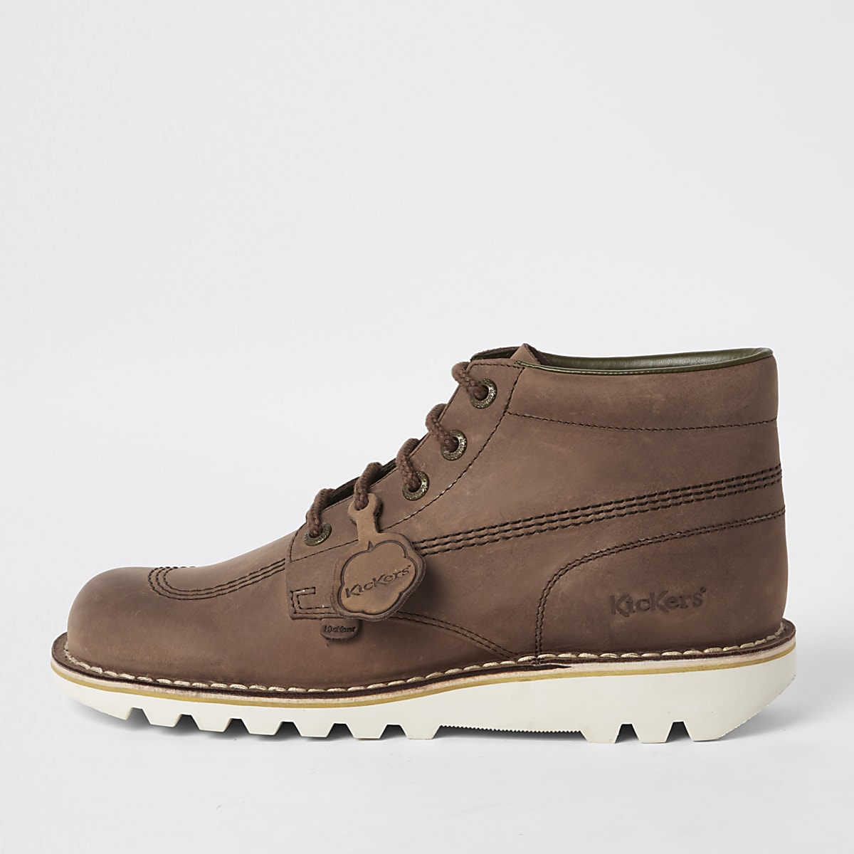Kickers brown leather lace-up boots