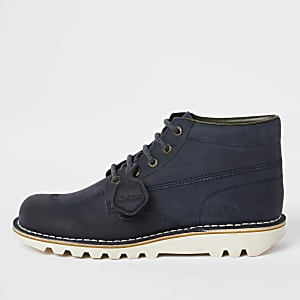 Kickers – Bottines en cuir bleu marine à lacets