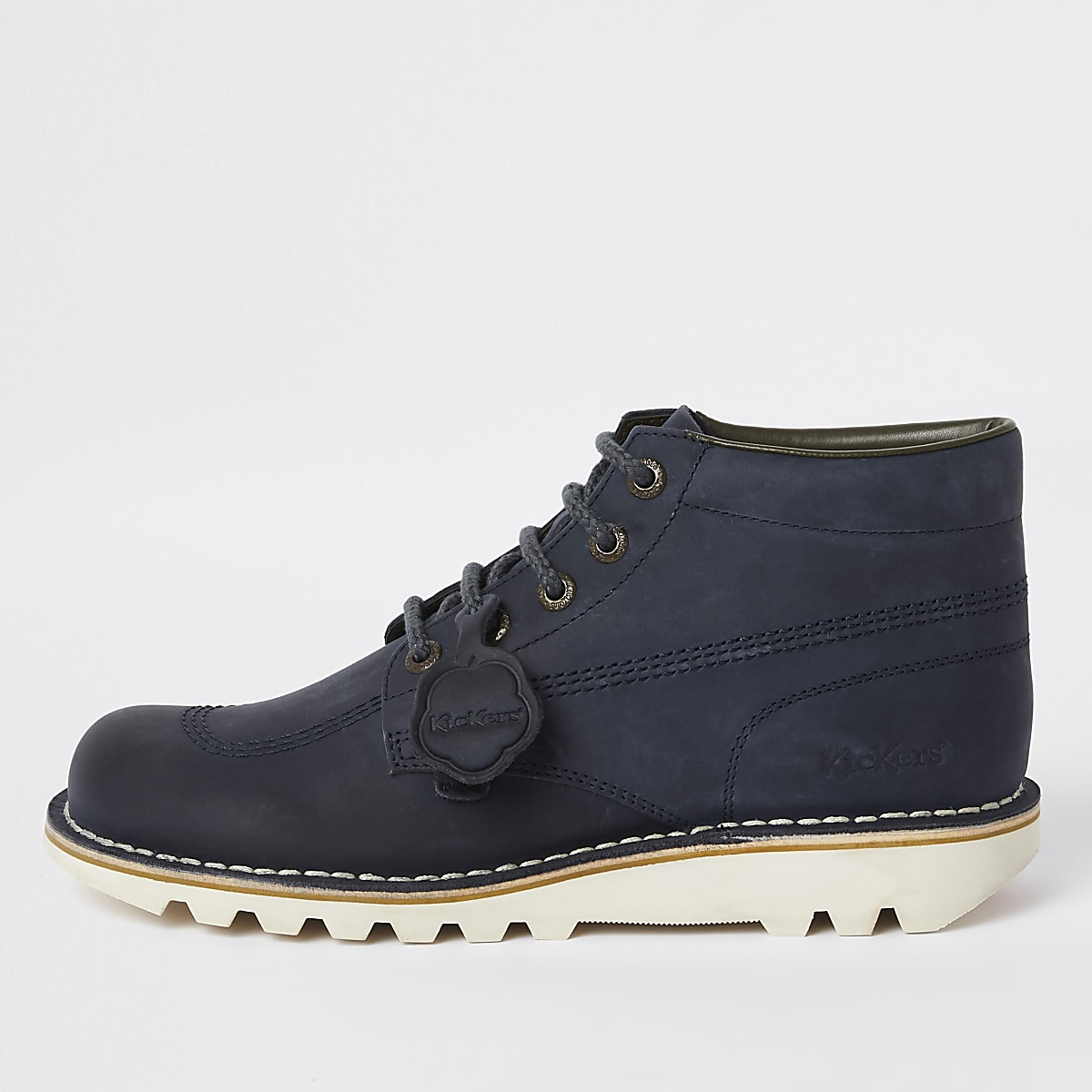 Kickers navy leather lace-up boots