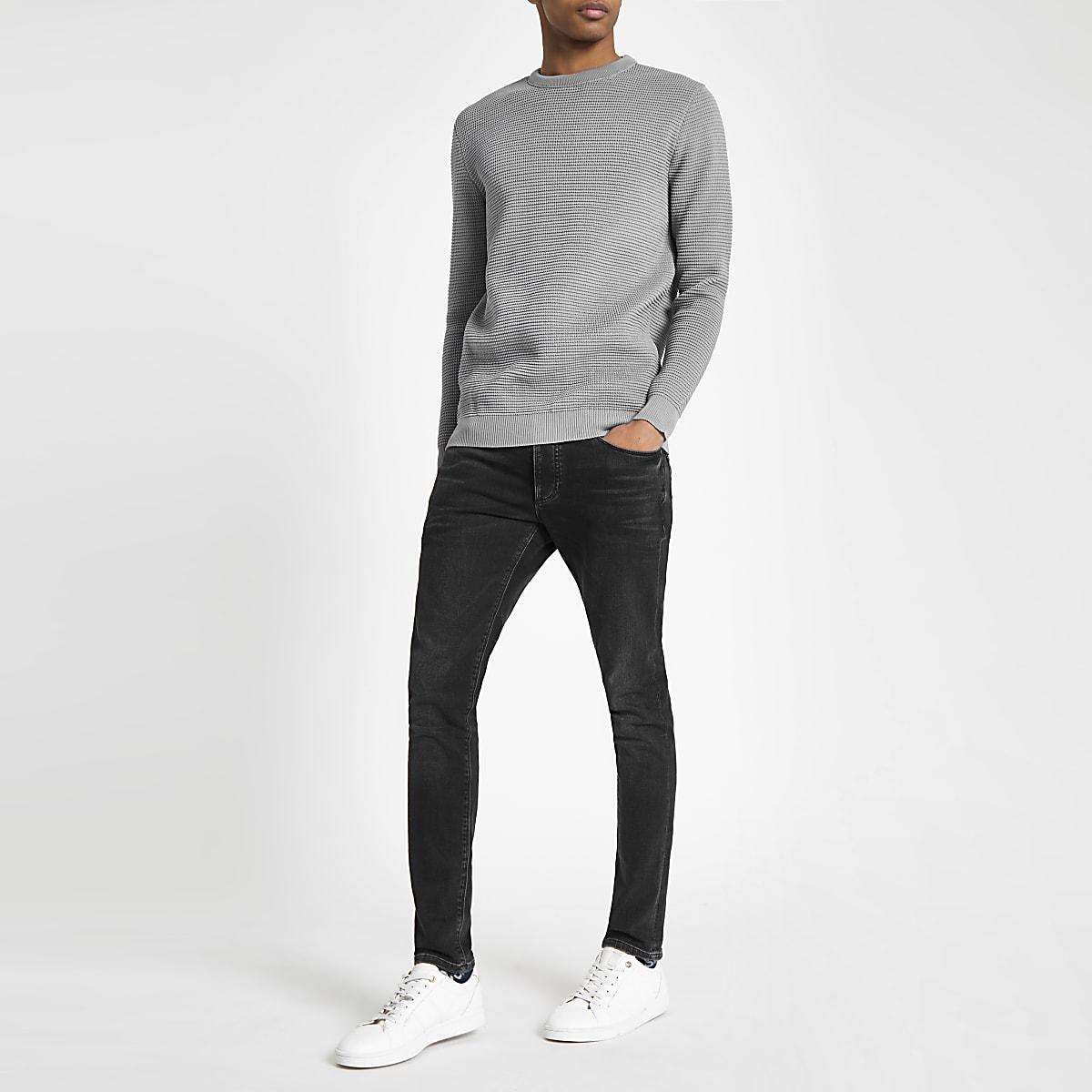 48fdaf44d8a Grey textured knit slim fit jumper - Jumpers - Jumpers   Cardigans - men