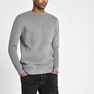 Grey textured knit slim fit sweater