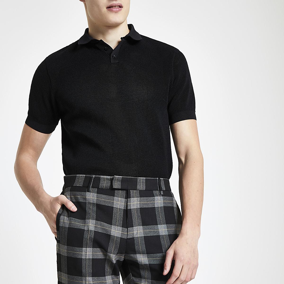 Polo slim noir texturé
