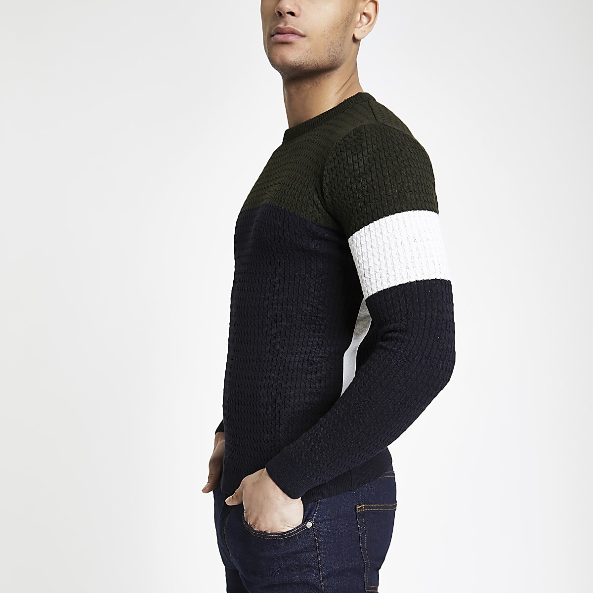 Navy block cable muscle fit jumper