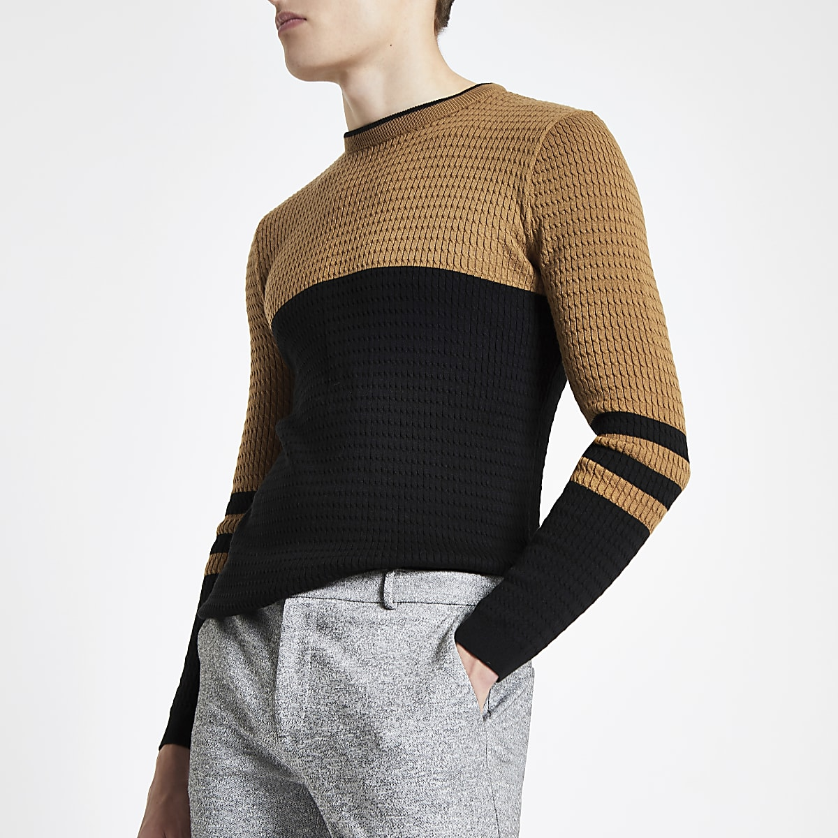 Black cable muscle fit sweater
