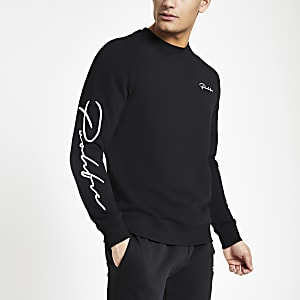 Zwart slim-fit sweatshirt met 'Prolific'-print