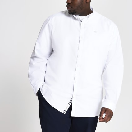 Big and Tall white slim fit Oxford shirt