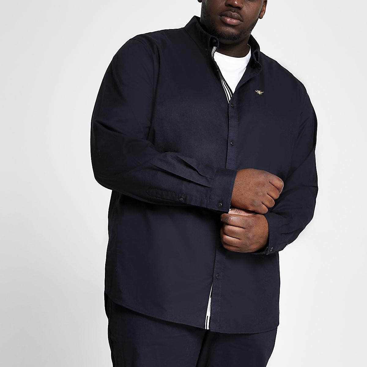 Big and Tall navy Oxford long sleeve shirt