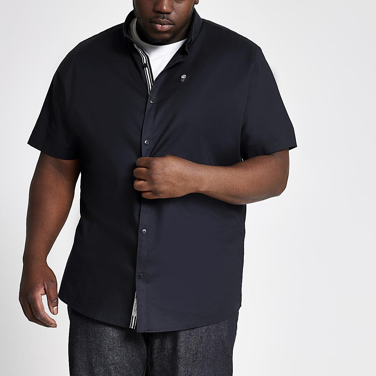 Big and Tall navy short sleeve Oxford shirt
