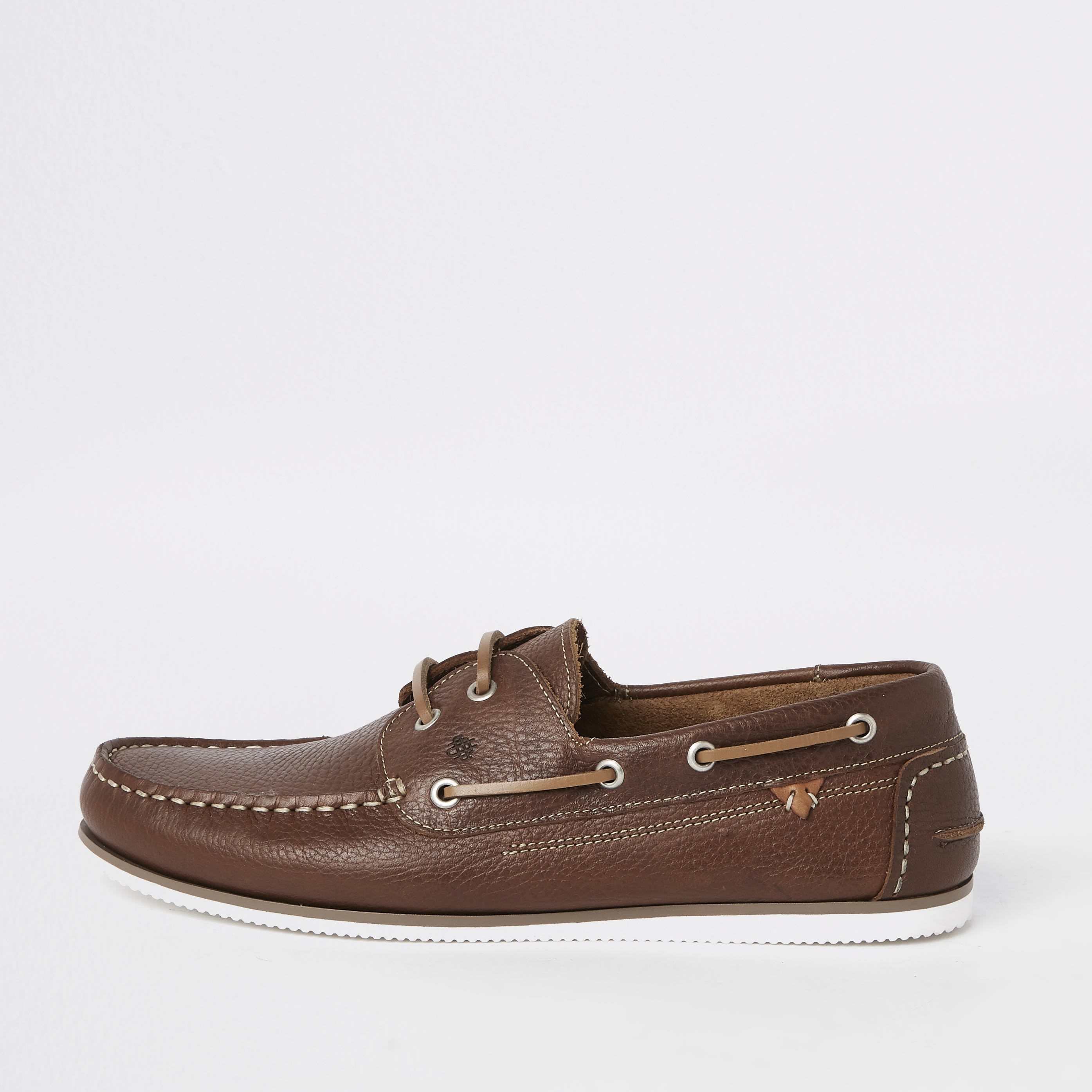RIVER ISLAND | Mens Brown leather boat shoes | Goxip