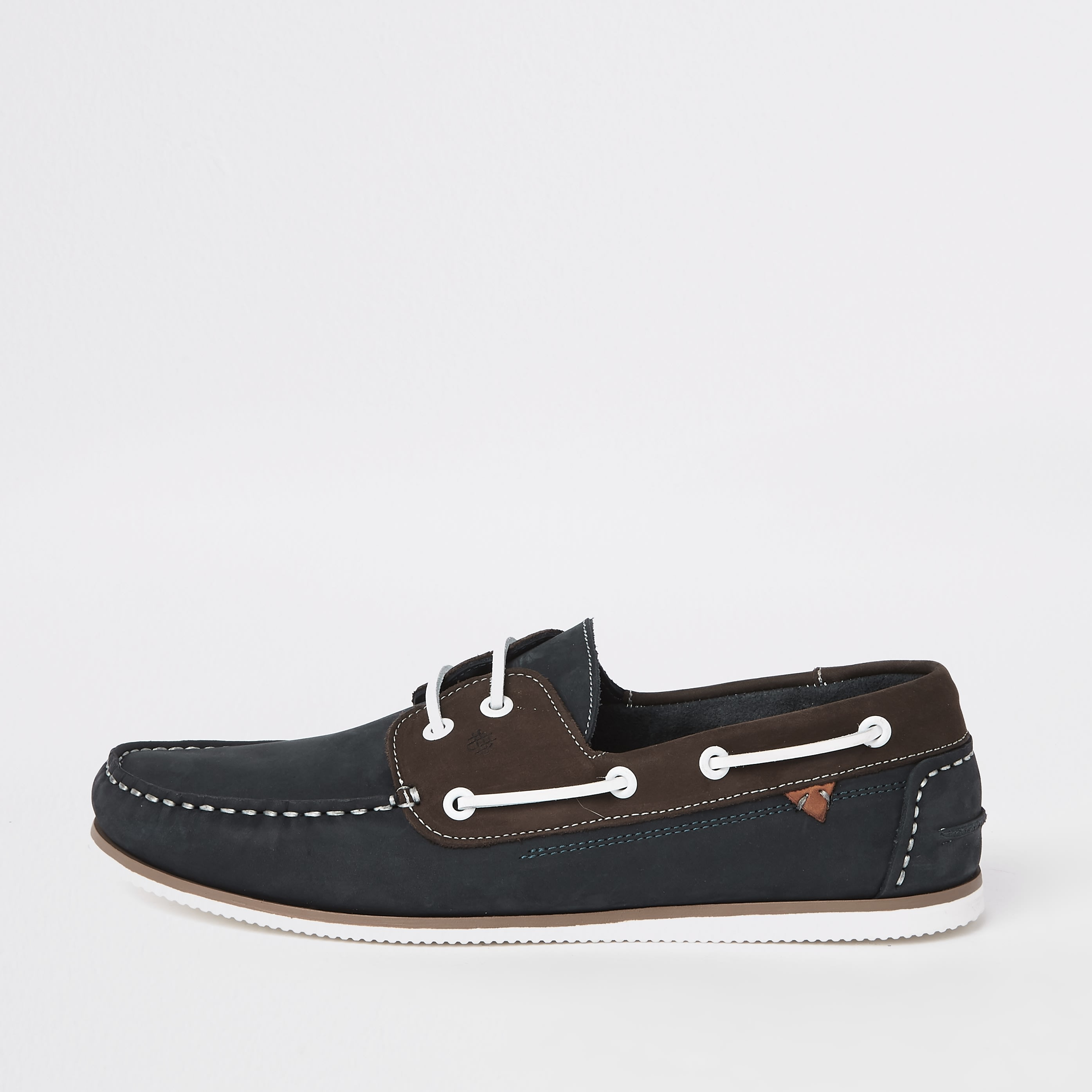 RIVER ISLAND | Mens Navy leather mixed boat shoes | Goxip