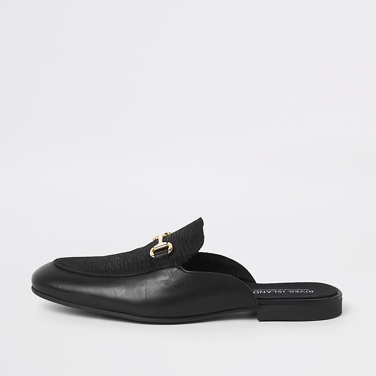 Black leather snaffle backless loafer