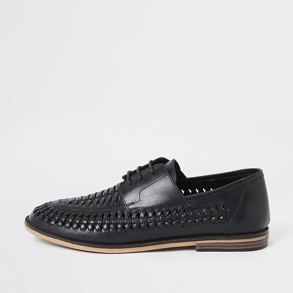 Black leather woven lace-up derby shoes