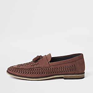 Red woven leather loafers