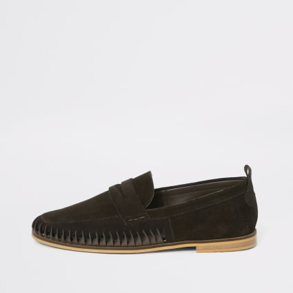 Dark brown suede woven loafers
