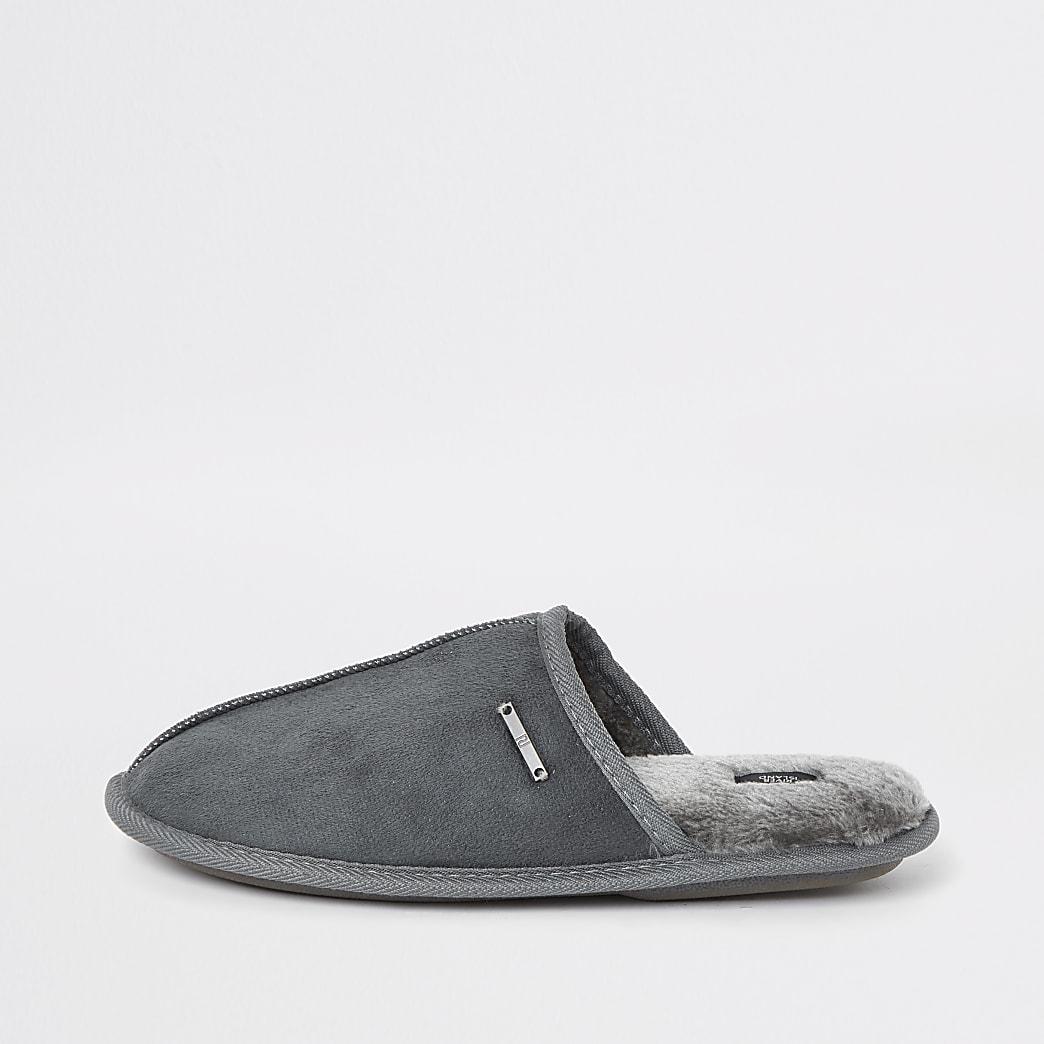 Grey mule slippers