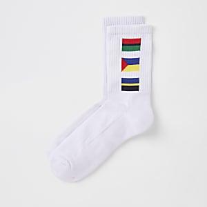 Chaussettes tube à imprimé drapeaux blanches