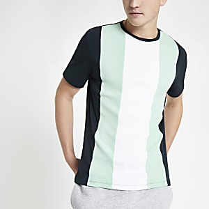 Green slim fit vertical color block T-shirt