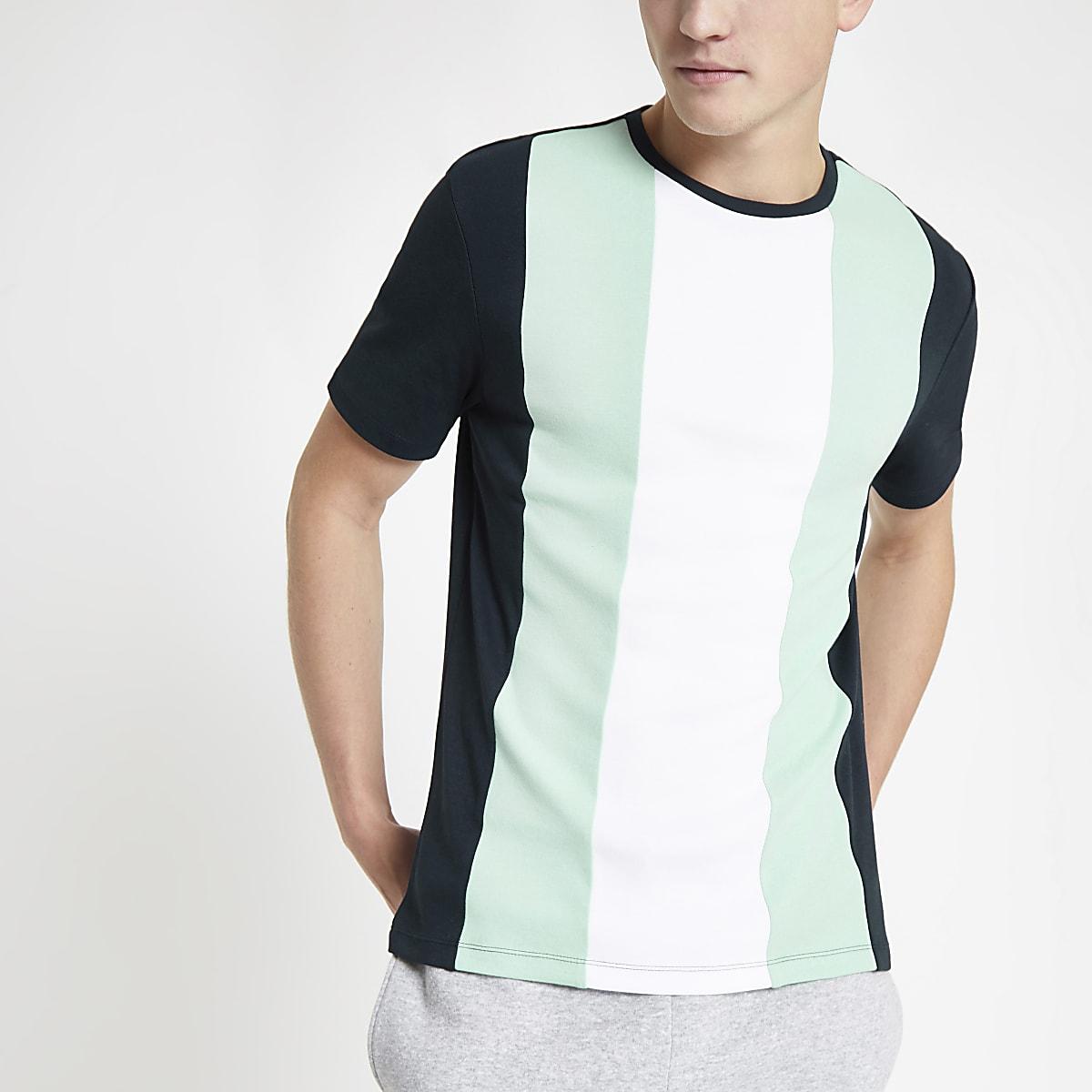 Green slim fit vertical colour block T-shirt