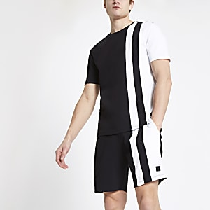 Black colour block slim fit T-shirt