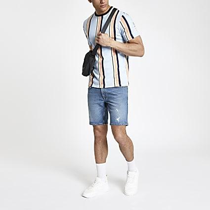 Light blue stripe T-shirt