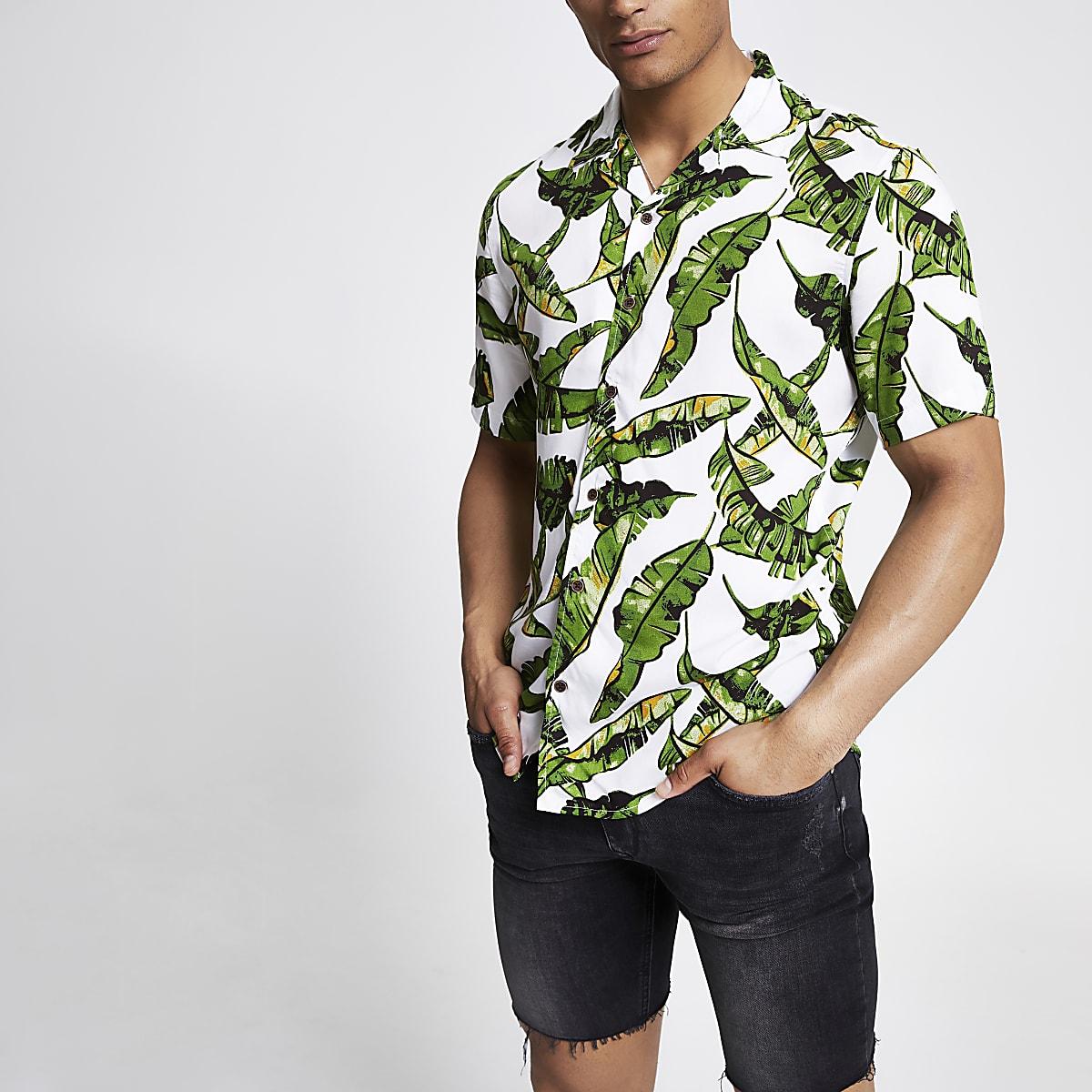 Only & Sons – Weißes Hemd mit tropischem Print