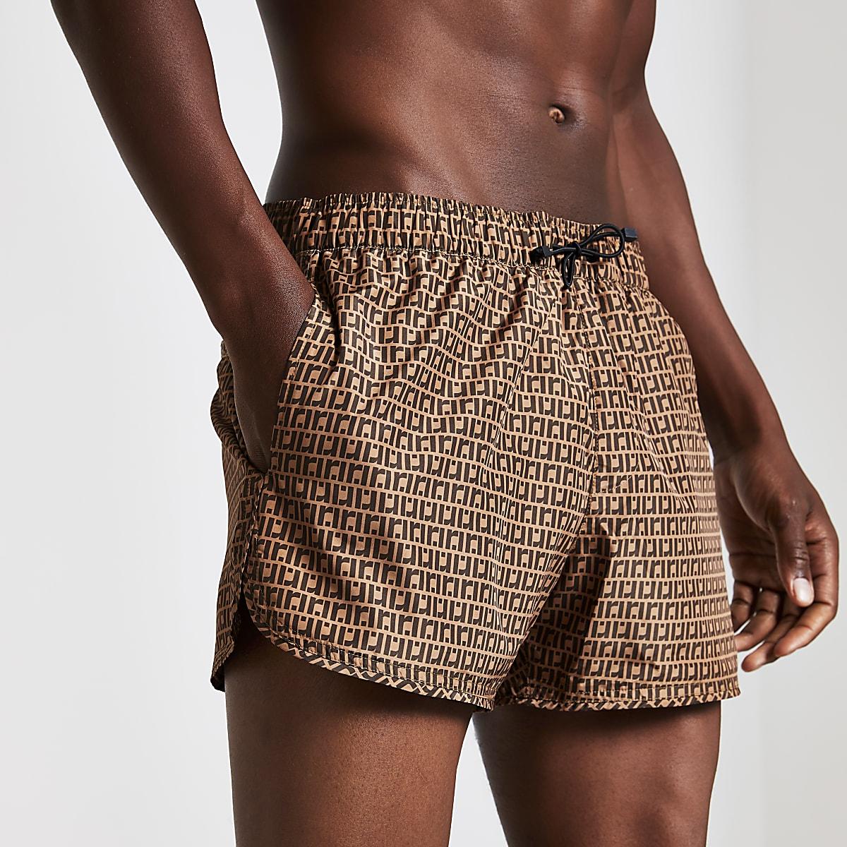 Brown RI monogram print swim shorts