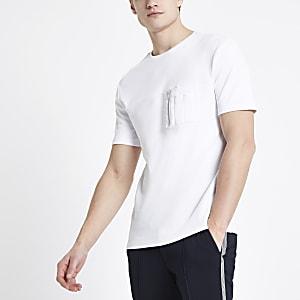 Weißes Utility-T-Shirt mit Reißverschlusstasche