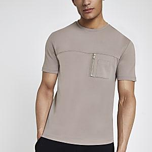 Bruin slim-fit utility T-shirt met zak