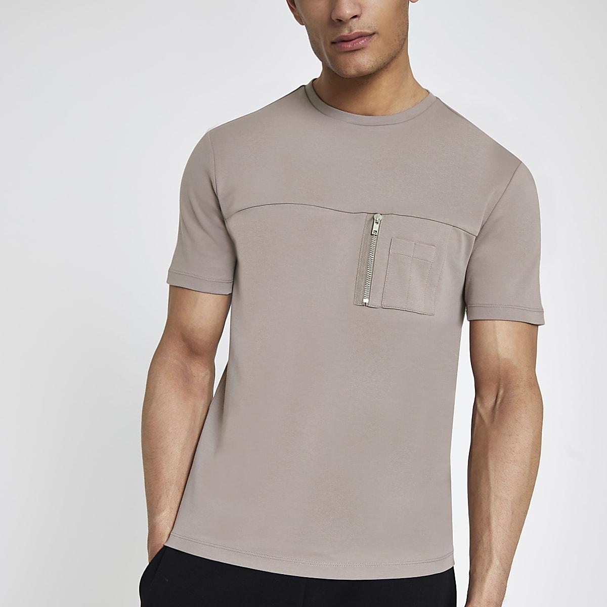 Brown slim fit zip pocket utility T-shirt