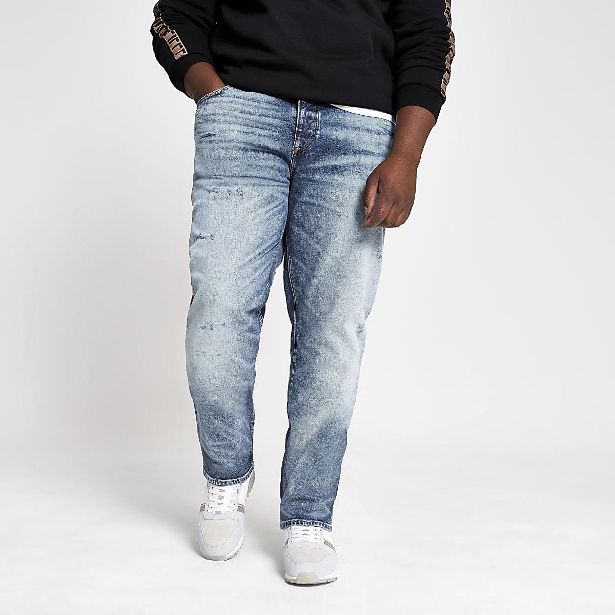 Big & Tall – Hellblaue Slim Fit Jeans