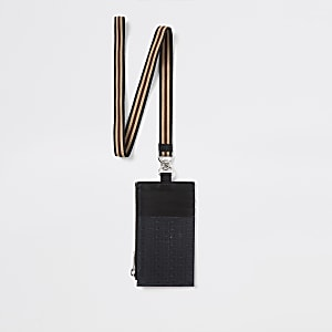 Cordon en cuir noir à monogramme RI