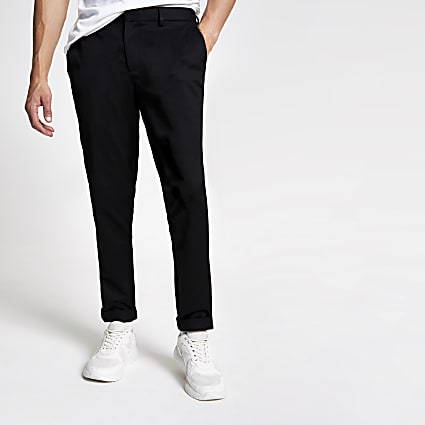 Black slim fit chino trousers
