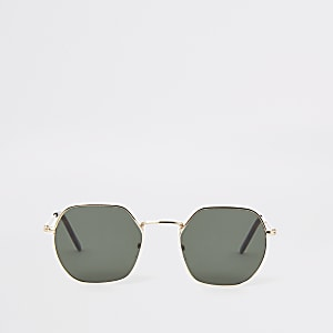 Gold tone hexagon sunglasses