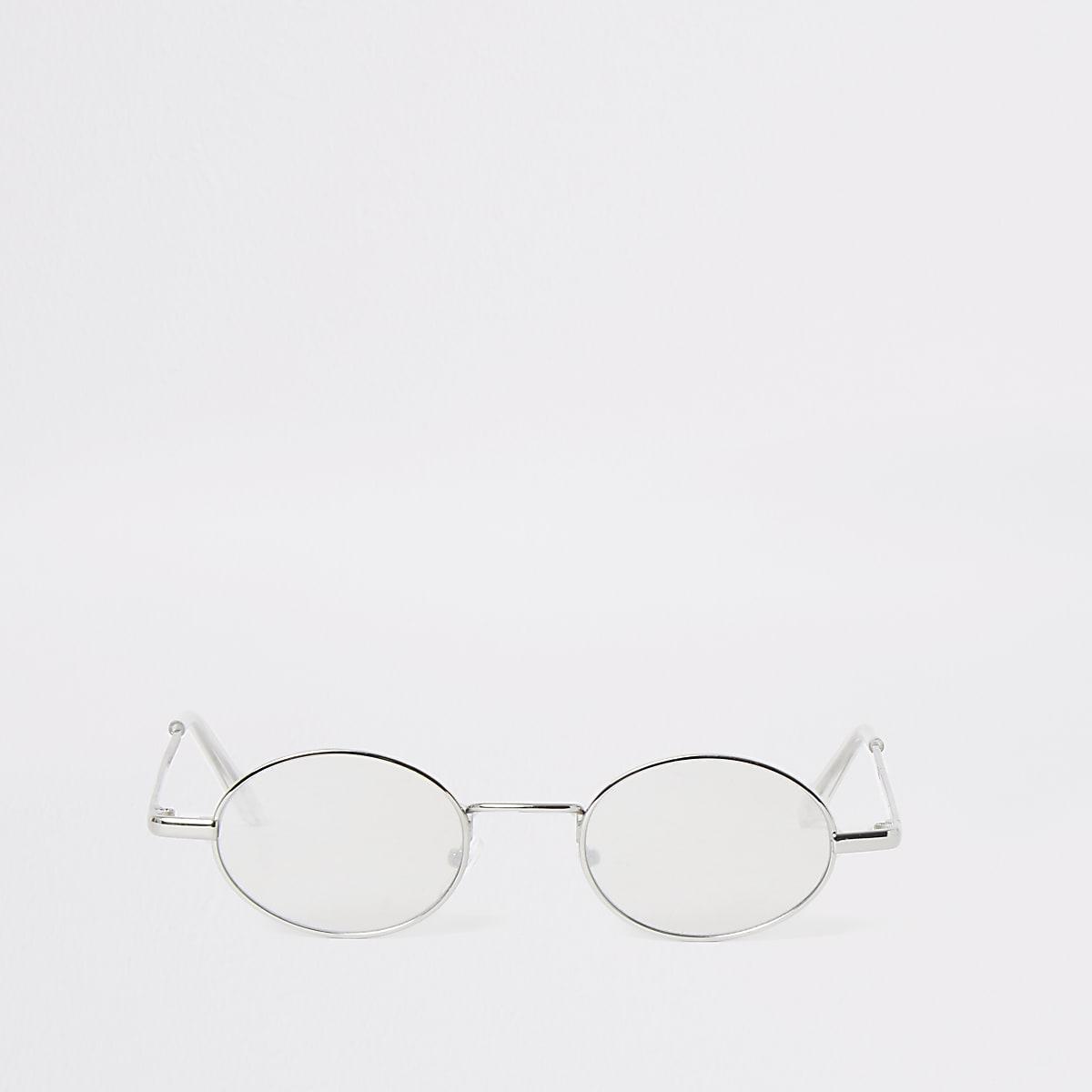 Grijze ovalen retro zonnebril met spiegelglazen