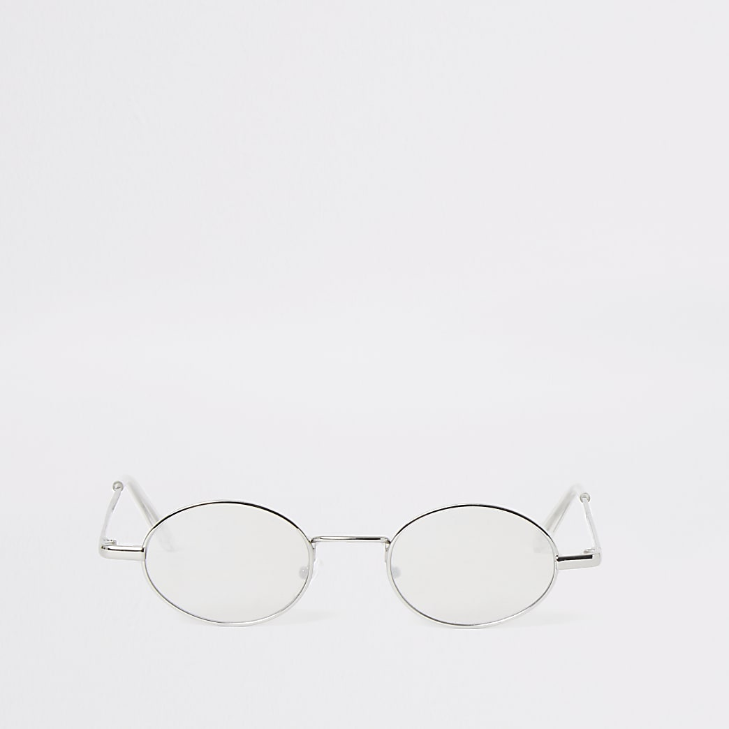 Grey mirror lens oval retro sunglasses