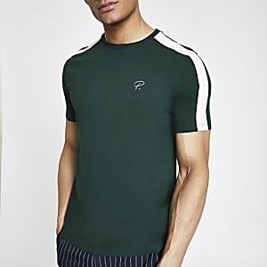 T-shirt ajusté «Prolific» vert à bande
