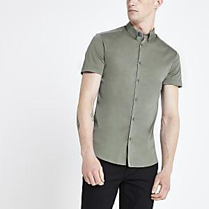 Groen aansluitend overhemd met korte mouwen