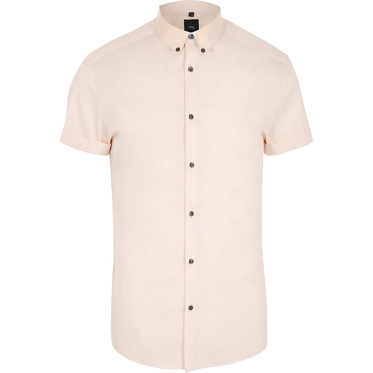 Roze aansluitend overhemd met korte mouwen