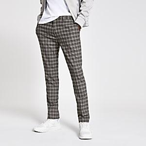 Graue, elegante Skinny Hose mit Karos