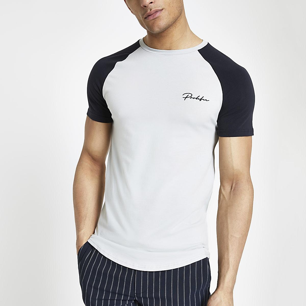 Grey Prolific muscle fit raglan T-shirt