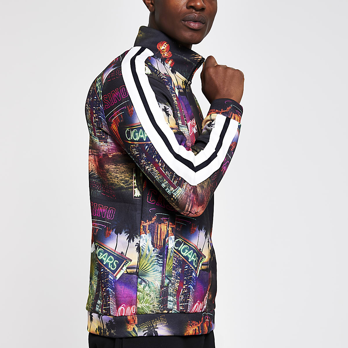 Black casino print slim fit track top
