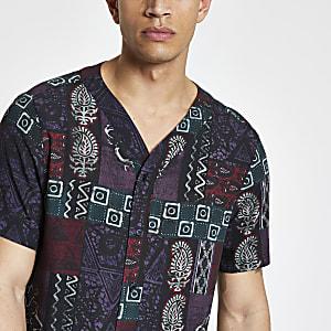 Paars overhemd met verschillende prints en baseballhals